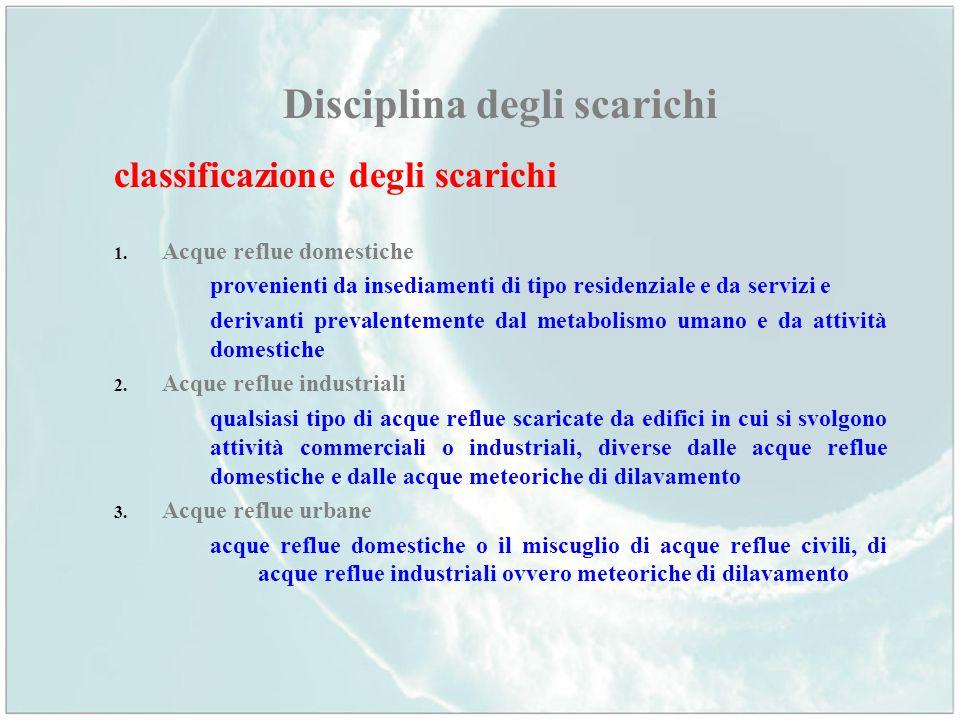 Disciplina degli scarichi classificazione degli scarichi 1. Acque reflue domestiche provenienti da insediamenti di tipo residenziale e da servizi e de