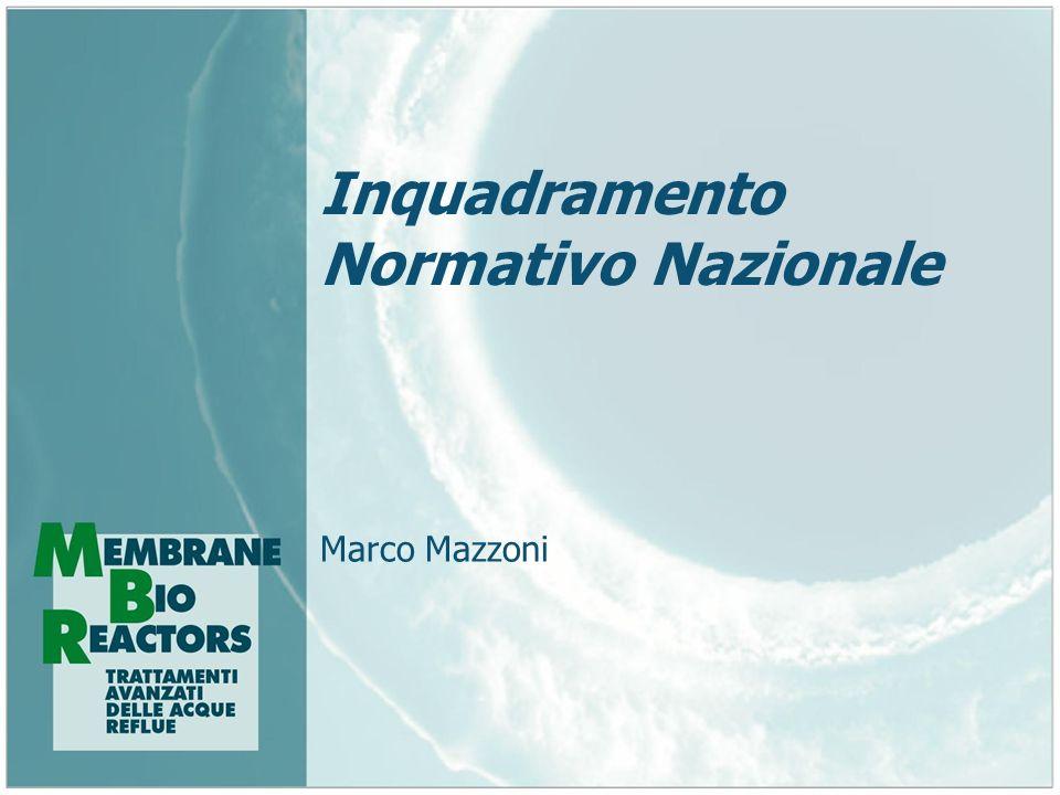 Inquadramento Normativo Nazionale Marco Mazzoni