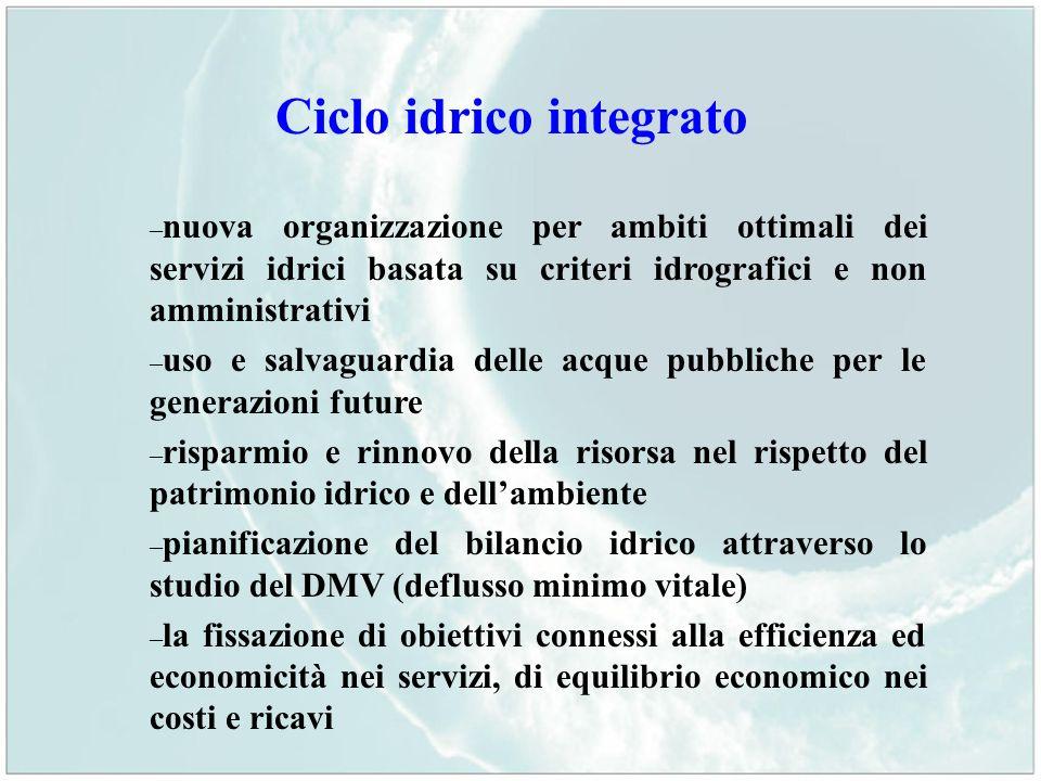 Ciclo idrico integrato – nuova organizzazione per ambiti ottimali dei servizi idrici basata su criteri idrografici e non amministrativi – uso e salvag