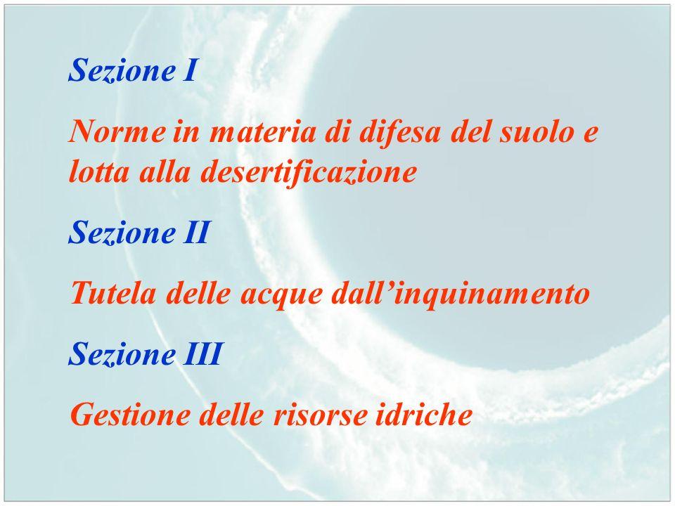 Sezione I Norme in materia di difesa del suolo e lotta alla desertificazione Sezione II Tutela delle acque dallinquinamento Sezione III Gestione delle