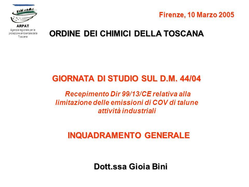 ORDINE DEI CHIMICI DELLA TOSCANA GIORNATA DI STUDIO SUL D.M. 44/04 Recepimento Dir 99/13/CE relativa alla limitazione delle emissioni di COV di talune