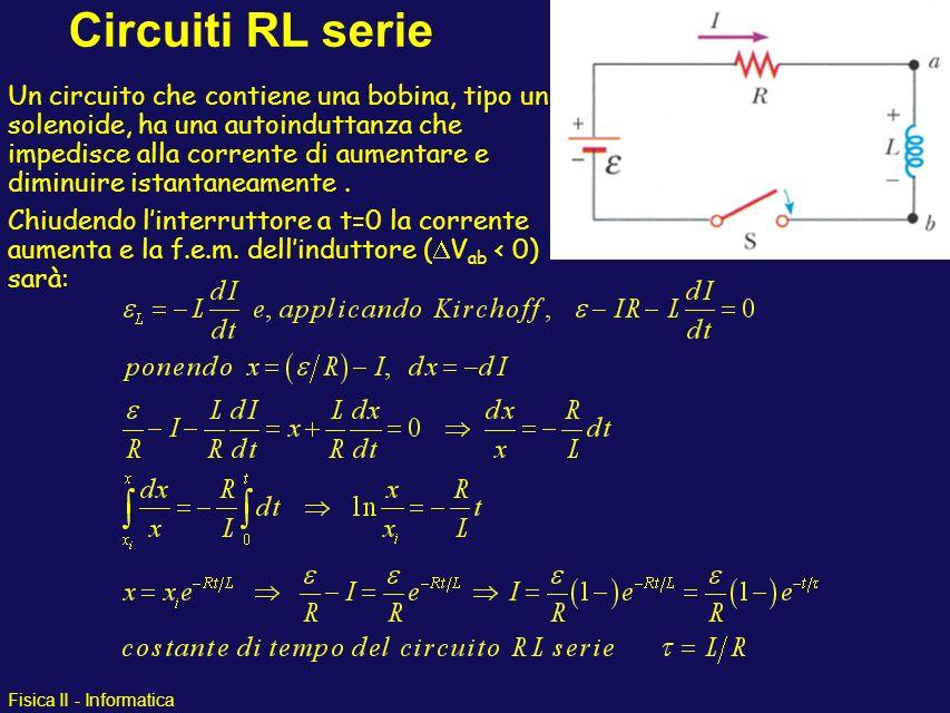 Fisica II - Informatica Circuiti RL serie Un circuito che contiene una bobina, tipo un solenoide, ha una autoinduttanza che impedisce alla corrente di