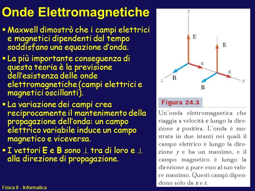 Fisica II - Informatica Onde Elettromagnetiche Maxwell dimostrò che i campi elettrici e magnetici dipendenti dal tempo soddisfano una equazione donda.
