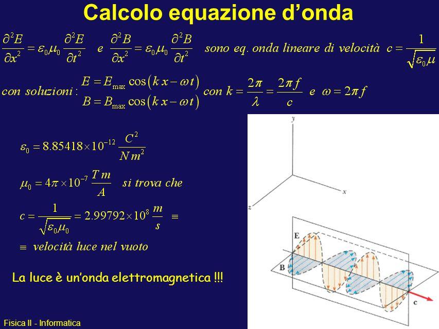 Fisica II - Informatica Calcolo equazione donda La luce è unonda elettromagnetica !!!