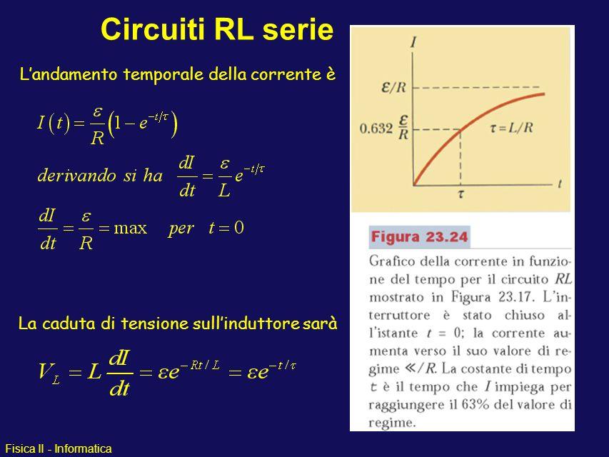 Fisica II - Informatica Analogamente ai circuiti RC esiste una costante di tempo che caratterizza il comportamento temporale del circuito Perchè RL cresce per L più grandi .