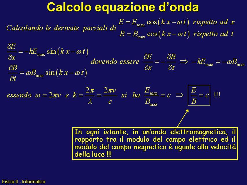 Fisica II - Informatica Calcolo equazione donda In ogni istante, in unonda elettromagnetica, il rapporto tra il modulo del campo elettrico ed il modul