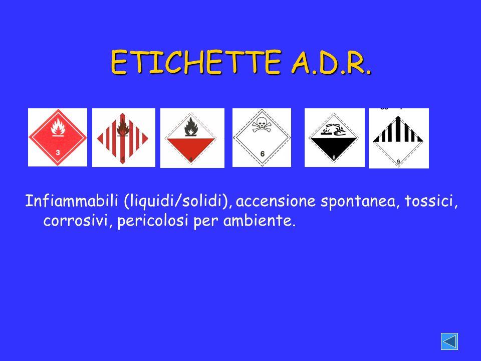 ETICHETTE A.D.R. Infiammabili (liquidi/solidi), accensione spontanea, tossici, corrosivi, pericolosi per ambiente.