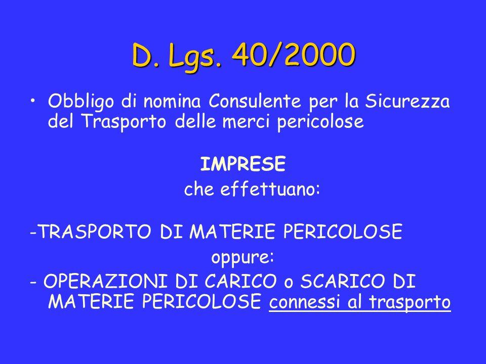 D. Lgs. 40/2000 Obbligo di nomina Consulente per la Sicurezza del Trasporto delle merci pericolose IMPRESE che effettuano: -TRASPORTO DI MATERIE PERIC