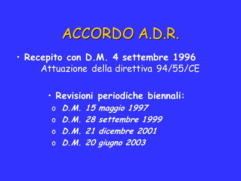 ACCORDO A.D.R. Recepito con D.M. 4 settembre 1996 Attuazione della direttiva 94/55/CE Revisioni periodiche biennali: oD.M. 15 maggio 1997 oD.M. 28 set