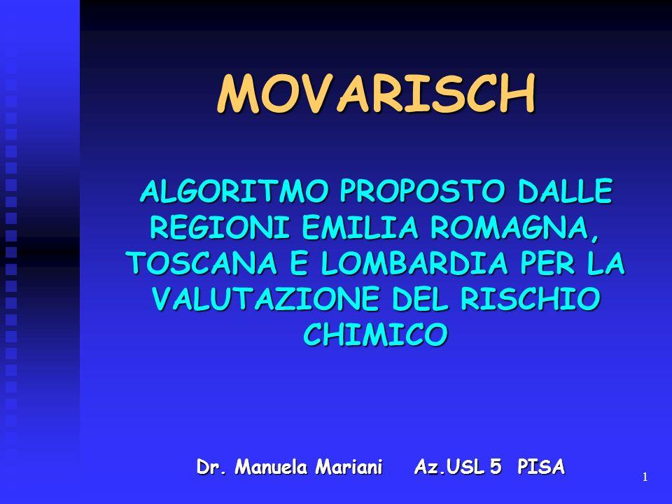 1 MOVARISCH Dr. Manuela Mariani Az.USL 5 PISA ALGORITMO PROPOSTO DALLE REGIONI EMILIA ROMAGNA, TOSCANA E LOMBARDIA PER LA VALUTAZIONE DEL RISCHIO CHIM