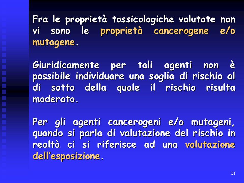 11 Fra le proprietà tossicologiche valutate non vi sono le proprietà cancerogene e/o mutagene. Giuridicamente per tali agenti non è possibile individu
