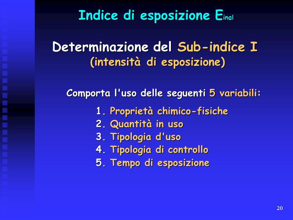 20 Comporta l'uso delle seguenti 5 variabili: 1. Proprietà chimico-fisiche 2. Quantità in uso 3. Tipologia d'uso 4. Tipologia di controllo 5. Tempo di