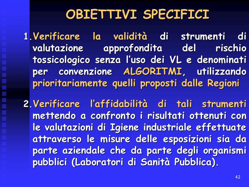 42 1. Verificare la validità di strumenti di valutazione approfondita del rischio tossicologico senza luso dei VL e denominati per convenzione ALGORIT
