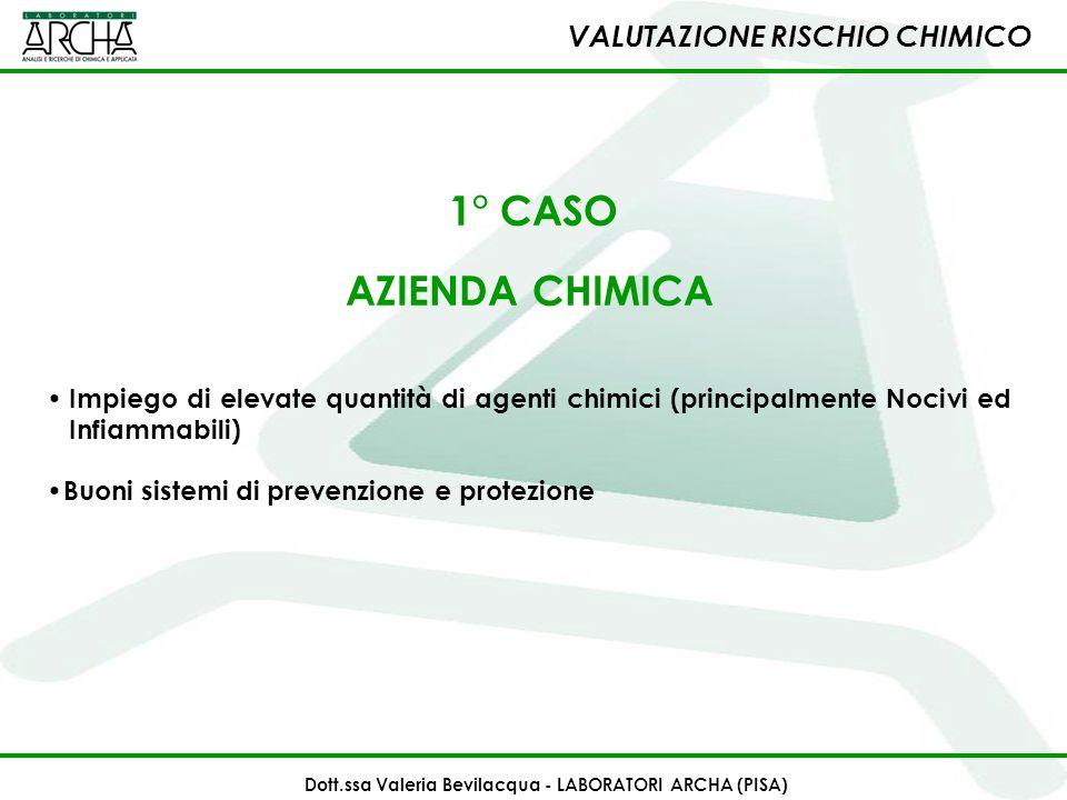 1° CASO AZIENDA CHIMICA Impiego di elevate quantità di agenti chimici (principalmente Nocivi ed Infiammabili) Buoni sistemi di prevenzione e protezion