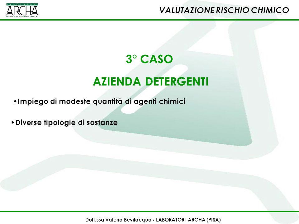 3° CASO AZIENDA DETERGENTI Impiego di modeste quantità di agenti chimici Diverse tipologie di sostanze VALUTAZIONE RISCHIO CHIMICO Dott.ssa Valeria Be