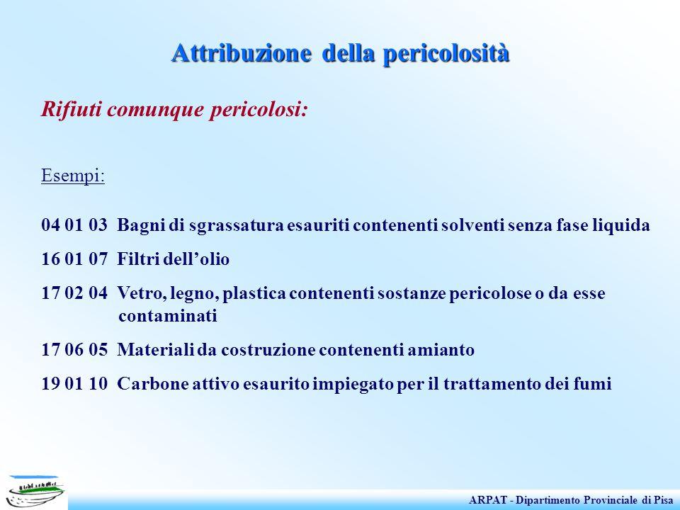 Attribuzione della pericolosità Rifiuti comunque pericolosi: Esempi: 04 01 03 Bagni di sgrassatura esauriti contenenti solventi senza fase liquida 16