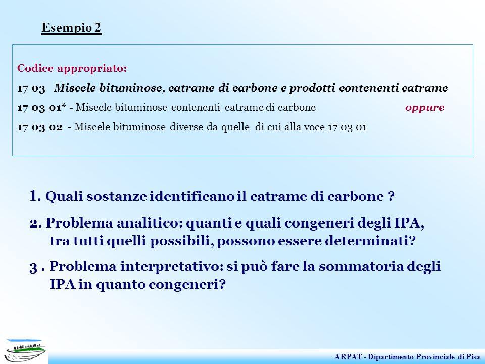 Esempio 2 Codice appropriato: 17 03 Miscele bituminose, catrame di carbone e prodotti contenenti catrame 17 03 01* - Miscele bituminose contenenti cat