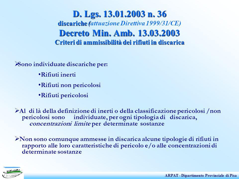 D. Lgs. 13.01.2003 n. 36 discariche ( Decreto Min. Amb. 13.03.2003 Criteri di ammissibilità dei rifiuti in discarica D. Lgs. 13.01.2003 n. 36 discaric