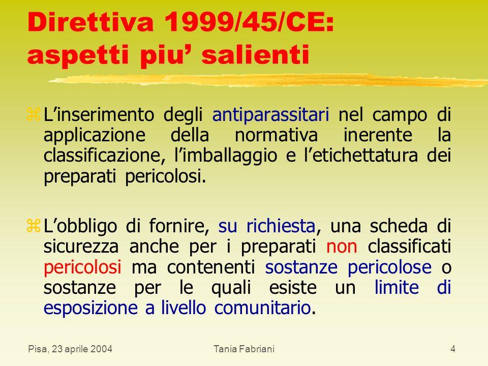 Pisa, 23 aprile 2004Tania Fabriani15 Definizioni: ELINCS z Lista Europea delle Sostanze Chimiche Notificate, di seguito denominata ELINCS: l elenco delle nuove sostanze chimiche notificate, nella comunità europea, a partire dal 19 settembre 1981.