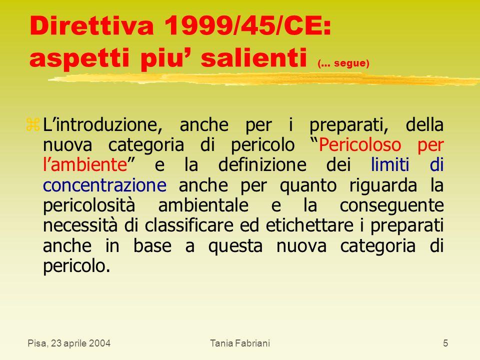 Pisa, 23 aprile 2004Tania Fabriani16 Preparati classificati pericolosi: simboli