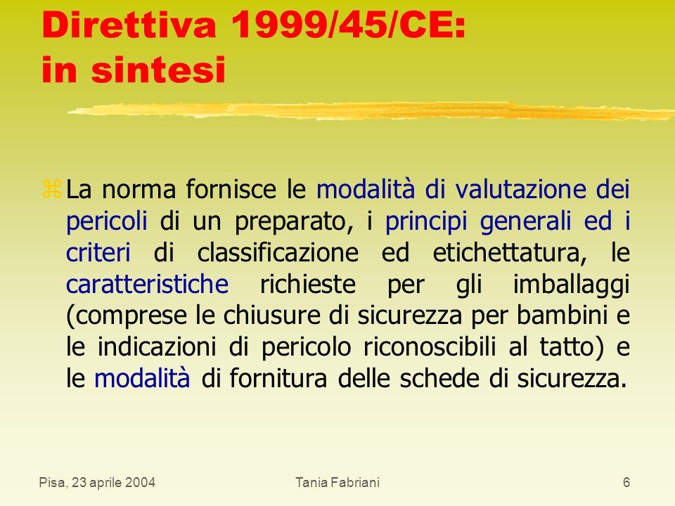 Pisa, 23 aprile 2004Tania Fabriani37 Sanzioni z Chiunque immette sul mercato i preparati pericolosi in violazione delle disposizioni in tema d imballaggio e di etichettatura nonché in violazione delle disposizioni sulla classificazione è punito con l ammenda da euro centoquattro ( 104) a euro cinquemilacentosessantacinque ( 5.165).
