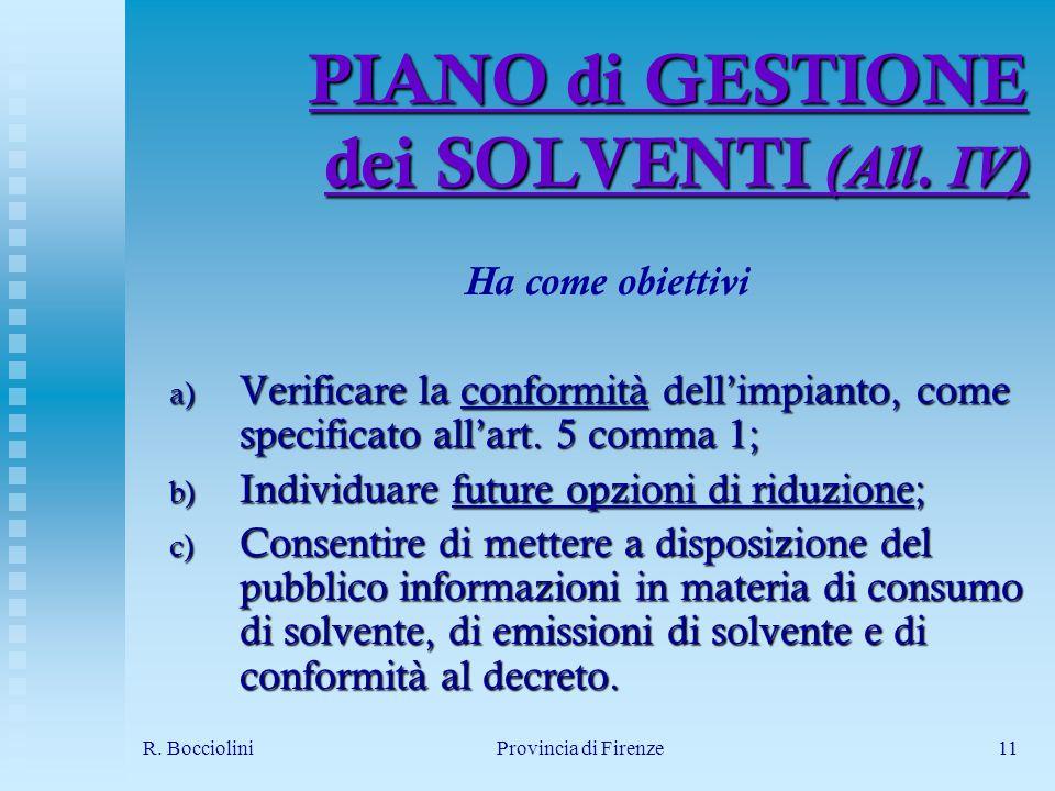 R. BoccioliniProvincia di Firenze11 PIANO di GESTIONE dei SOLVENTI (All.