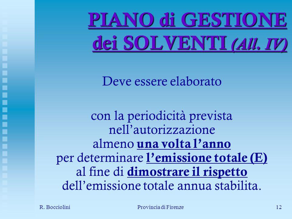 R. BoccioliniProvincia di Firenze12 PIANO di GESTIONE dei SOLVENTI (All.