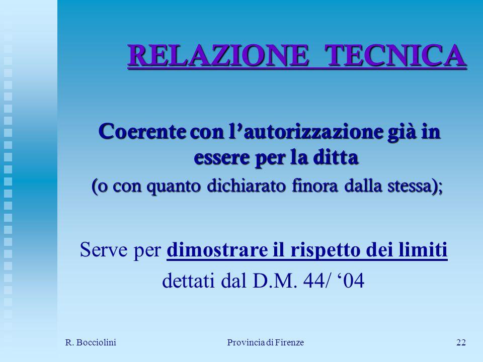 R. BoccioliniProvincia di Firenze22 RELAZIONE TECNICA Coerente con lautorizzazione già in essere per la ditta Coerente con lautorizzazione già in esse