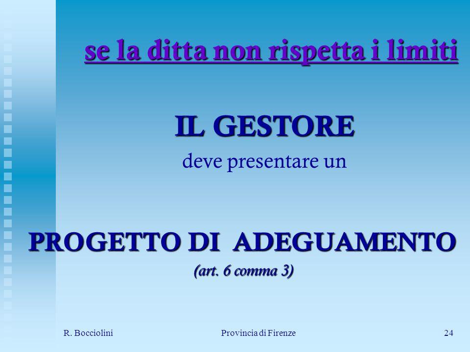 R. BoccioliniProvincia di Firenze24 se la ditta non rispetta i limiti PROGETTO DI ADEGUAMENTO (art.