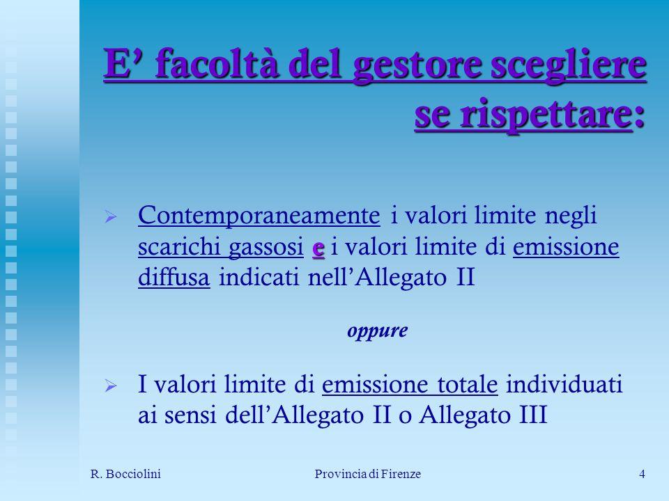 R. BoccioliniProvincia di Firenze4 E facoltà del gestore scegliere se rispettare: e Contemporaneamente i valori limite negli scarichi gassosi e i valo