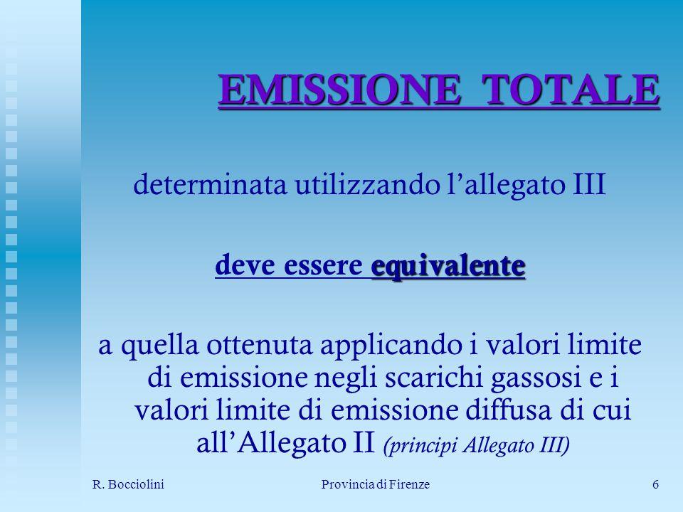 R. BoccioliniProvincia di Firenze6 EMISSIONE TOTALE determinata utilizzando lallegato III equivalente deve essere equivalente a quella ottenuta applic