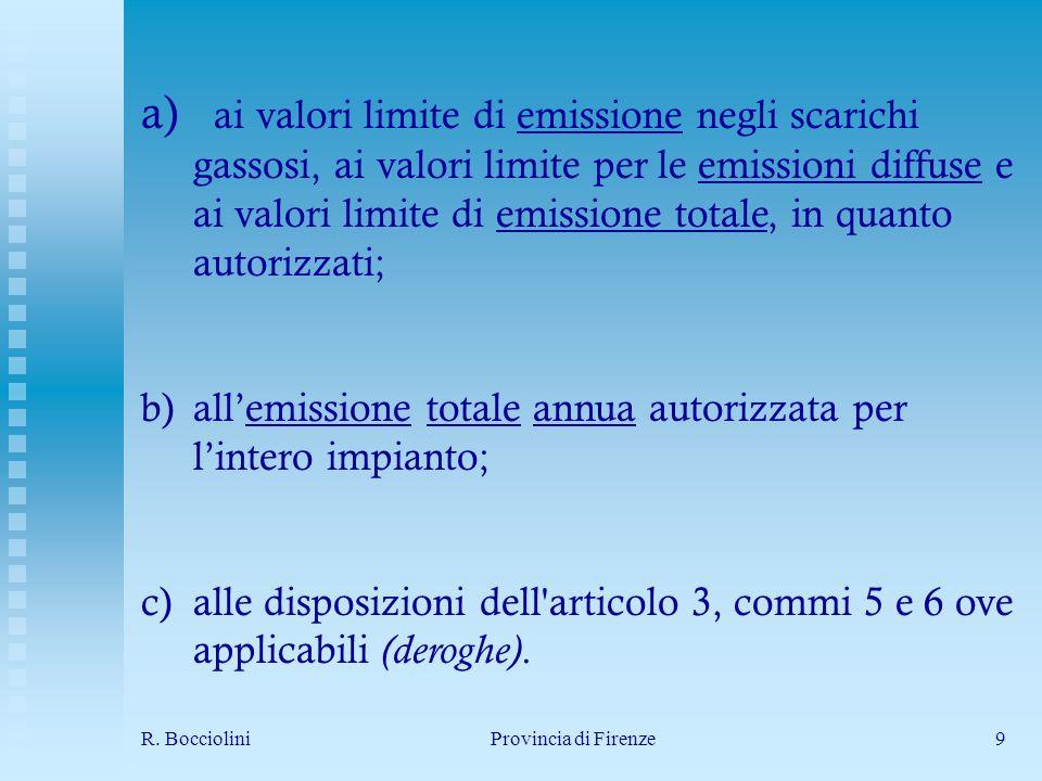 R. BoccioliniProvincia di Firenze9 a) ai valori limite di emissione negli scarichi gassosi, ai valori limite per le emissioni diffuse e ai valori limi