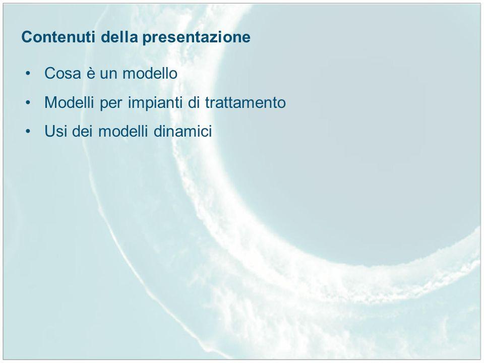 Contenuti della presentazione Cosa è un modello Modelli per impianti di trattamento Usi dei modelli dinamici