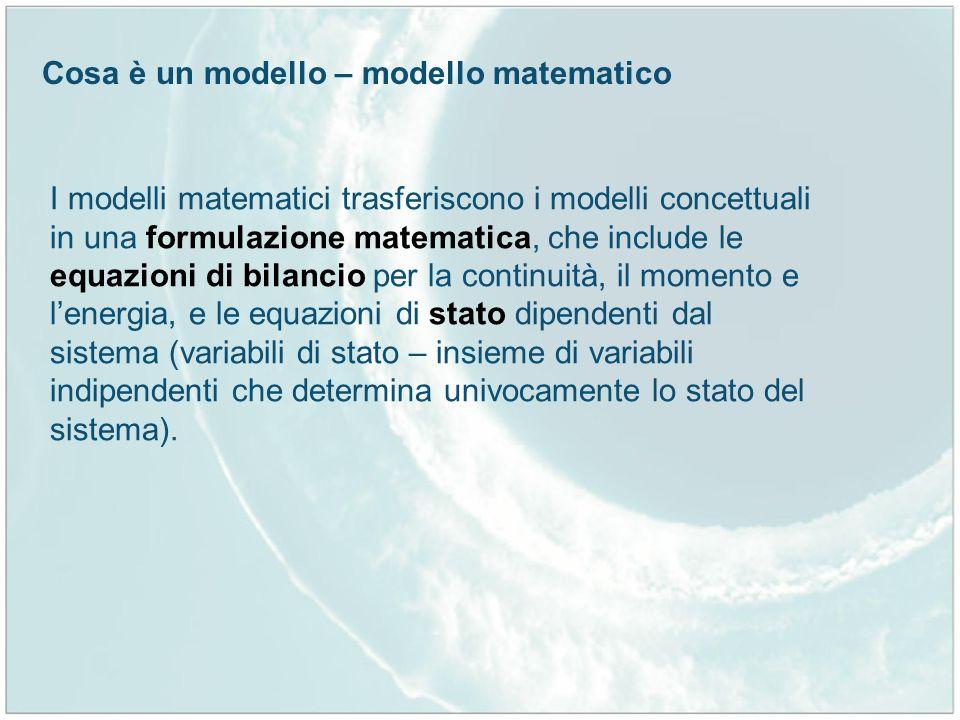 Cosa è un modello – modello matematico I modelli matematici trasferiscono i modelli concettuali in una formulazione matematica, che include le equazio