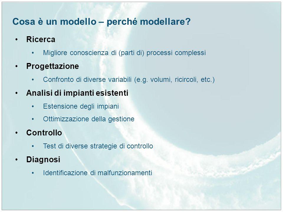 Ricerca Migliore conoscienza di (parti di) processi complessi Progettazione Confronto di diverse variabili (e.g. volumi, ricircoli, etc.) Analisi di i