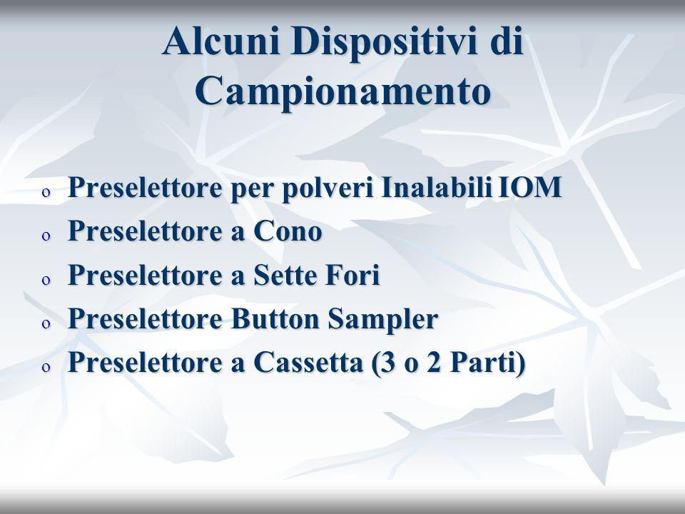 Alcuni Dispositivi di Campionamento o Preselettore per polveri Inalabili IOM o Preselettore a Cono o Preselettore a Sette Fori o Preselettore Button Sampler o Preselettore a Cassetta (3 o 2 Parti)