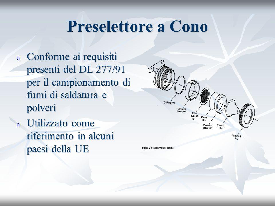 Preselettore a Cono o Conforme ai requisiti presenti del DL 277/91 per il campionamento di fumi di saldatura e polveri o Utilizzato come riferimento in alcuni paesi della UE
