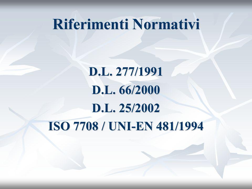 Riferimenti Normativi D.L. 277/1991 D.L. 66/2000 D.L. 25/2002 ISO 7708 / UNI-EN 481/1994