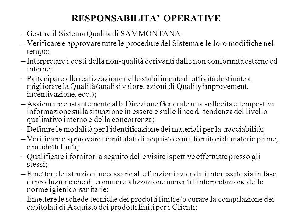 RESPONSABILITA OPERATIVE –Gestire il Sistema Qualità di SAMMONTANA; –Verificare e approvare tutte le procedure del Sistema e le loro modifiche nel tem