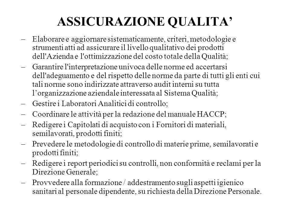 ASSICURAZIONE QUALITA –Elaborare e aggiornare sistematicamente, criteri, metodologie e strumenti atti ad assicurare il livello qualitativo dei prodott