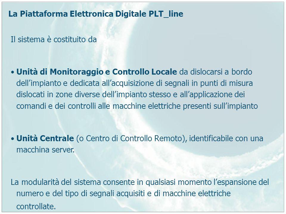 La Piattaforma Elettronica Digitale PLT_line Il sistema è costituito da Unità di Monitoraggio e Controllo Locale da dislocarsi a bordo dellimpianto e