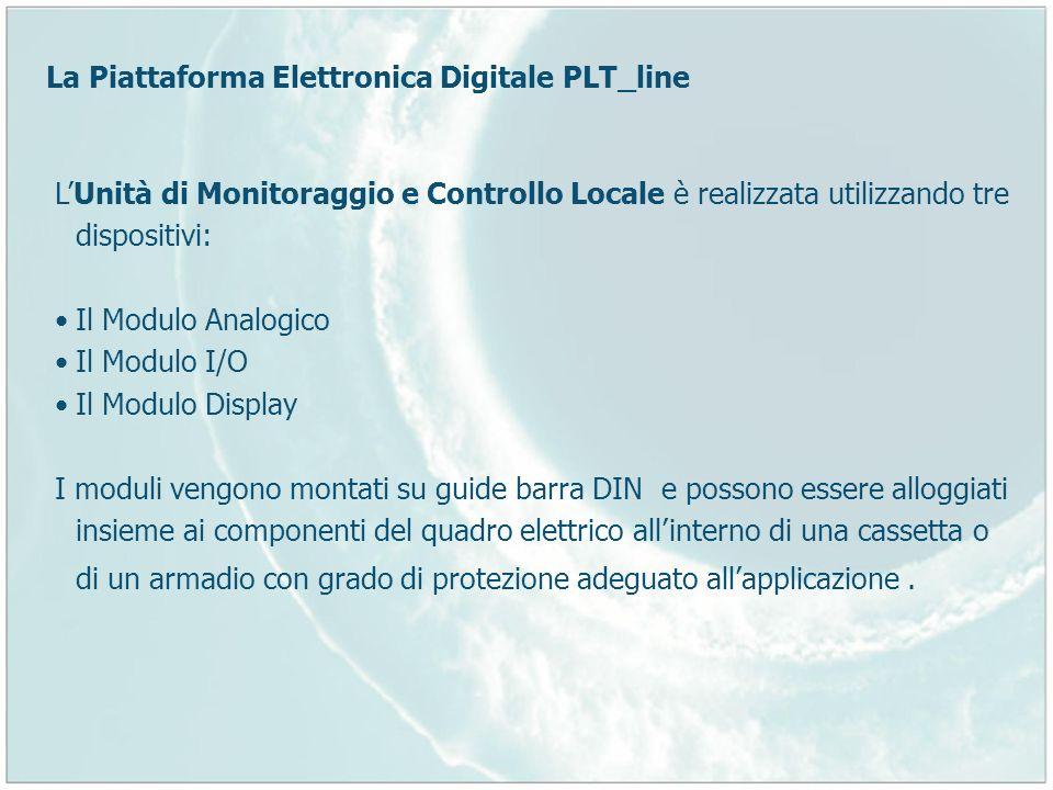 La Piattaforma Elettronica Digitale PLT_line LUnità di Monitoraggio e Controllo Locale è realizzata utilizzando tre dispositivi: Il Modulo Analogico I