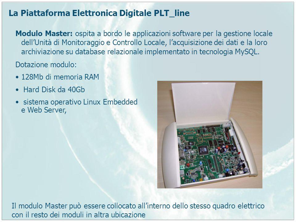 La Piattaforma Elettronica Digitale PLT_line Modulo Master: ospita a bordo le applicazioni software per la gestione locale dellUnità di Monitoraggio e