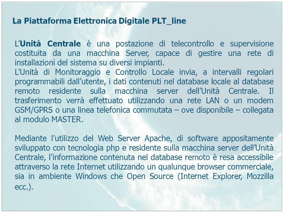 LUnità Centrale è una postazione di telecontrollo e supervisione costituita da una macchina Server, capace di gestire una rete di installazioni del si