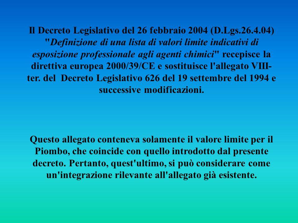 Il Decreto Legislativo del 26 febbraio 2004 (D.Lgs.26.4.04)