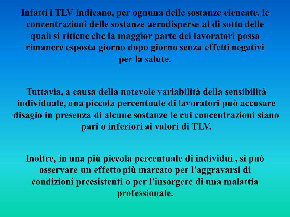 Infatti i TLV indicano, per ognuna delle sostanze elencate, le concentrazioni delle sostanze aerodisperse al di sotto delle quali si ritiene che la ma