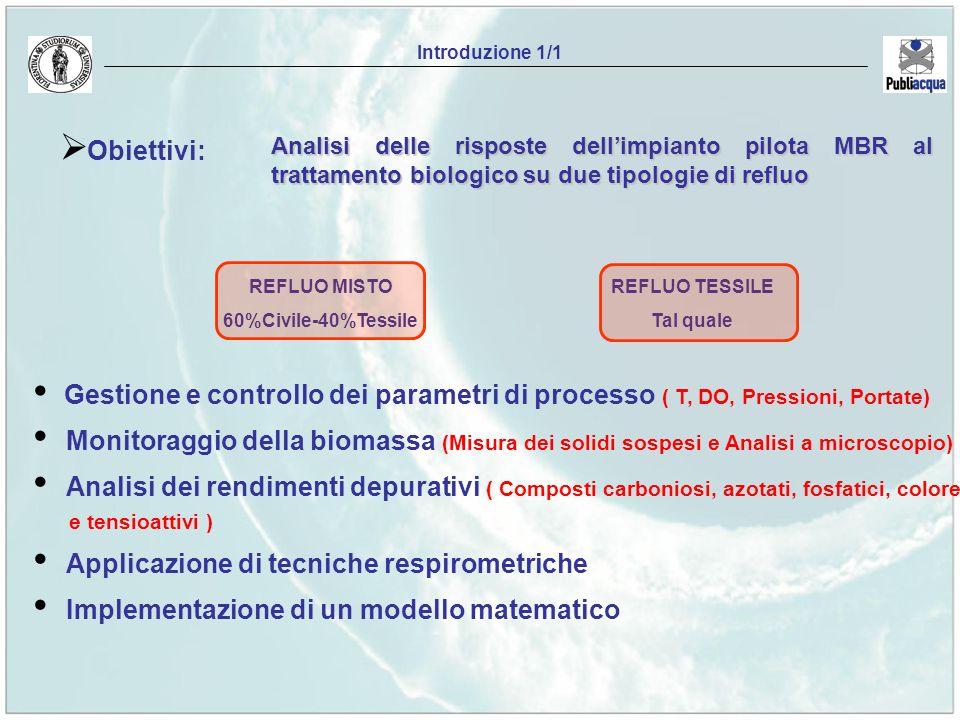 Obiettivi: REFLUO TESSILE Tal quale Introduzione 1/1 Gestione e controllo dei parametri di processo ( T, DO, Pressioni, Portate) Monitoraggio della bi