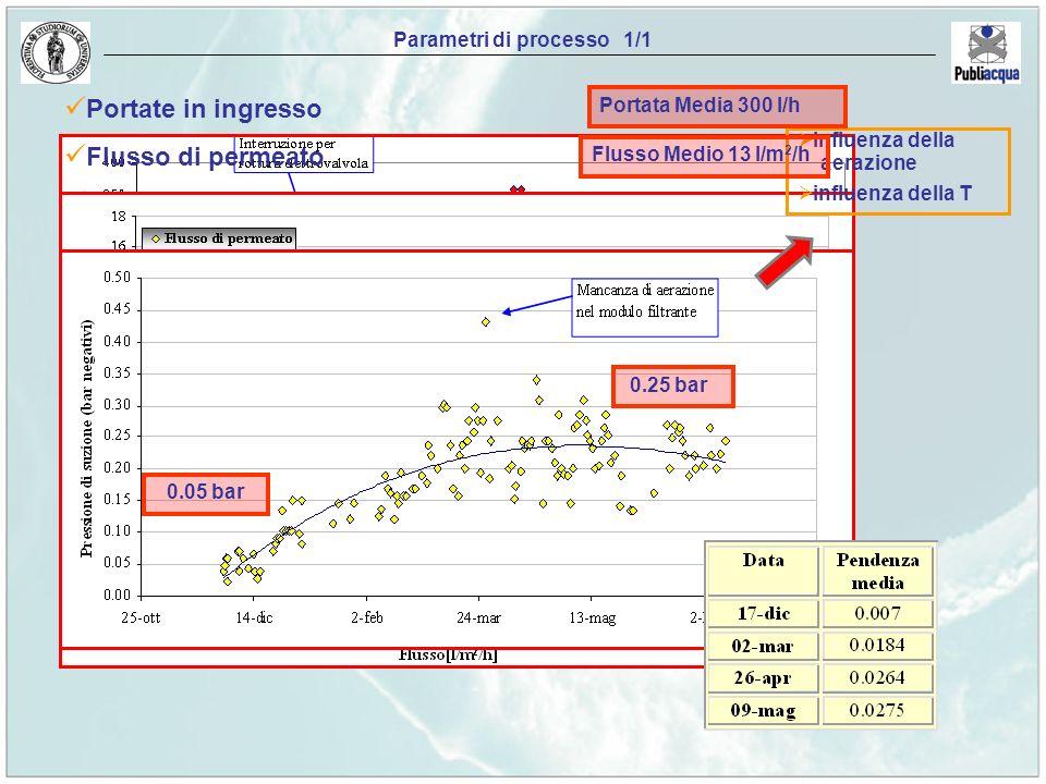 Parametri di processo 1/1 Portate in ingresso Flusso di permeato Pressione di estrazione Curva Pressione-Flusso influenza della aerazione influenza de