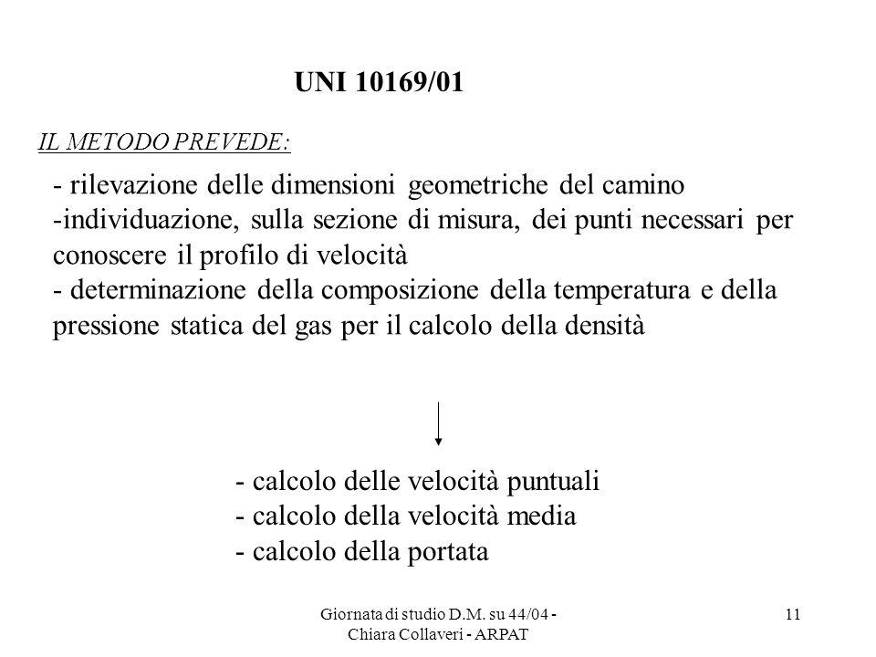 Giornata di studio D.M. su 44/04 - Chiara Collaveri - ARPAT 11 - rilevazione delle dimensioni geometriche del camino -individuazione, sulla sezione di