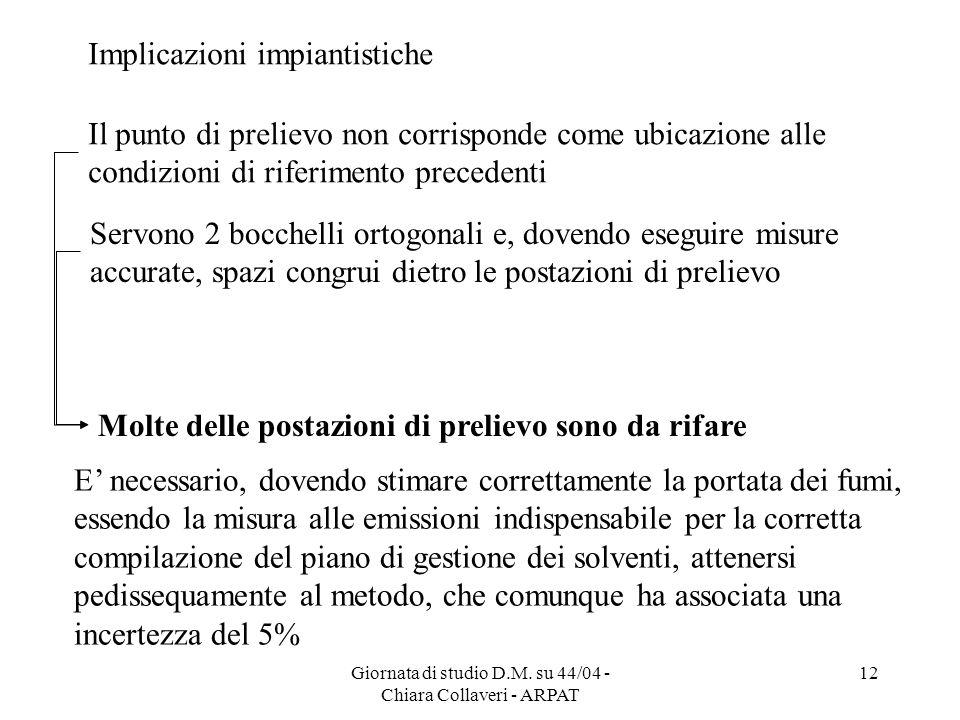 Giornata di studio D.M. su 44/04 - Chiara Collaveri - ARPAT 12 Implicazioni impiantistiche Servono 2 bocchelli ortogonali e, dovendo eseguire misure a